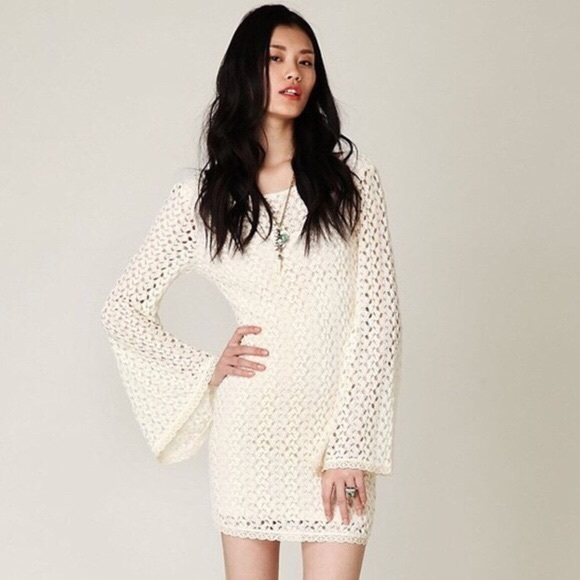 Free People Dresses & Skirts - Free People • Crochet Cream Bell Sleeve Dress